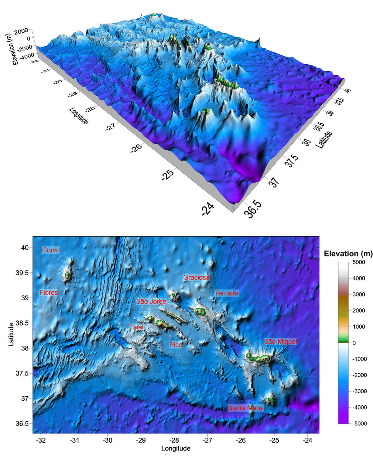 Multibeam Bathymetry of the Azores Region