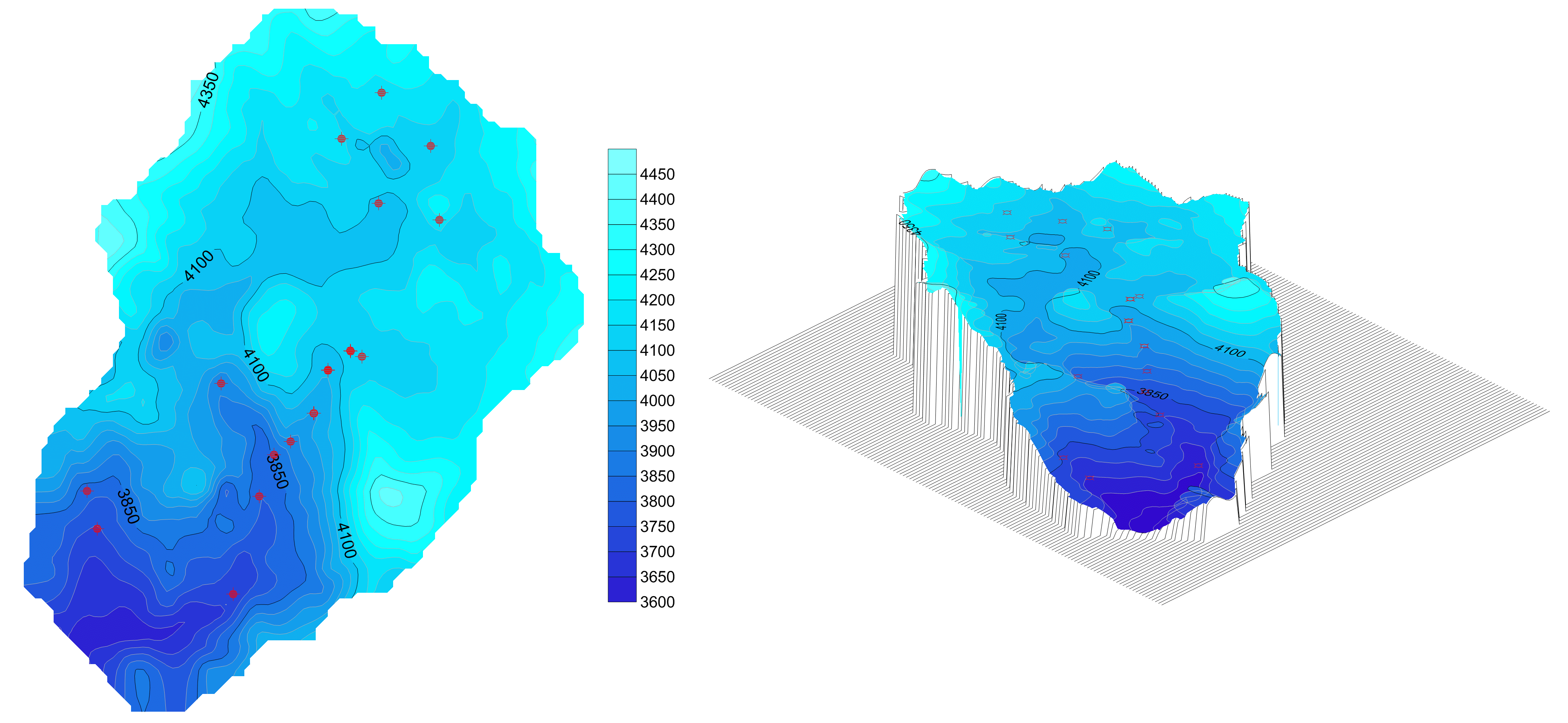 Surfer modeling and contouring mapping software: Groundwater elevation map draped over land surface map