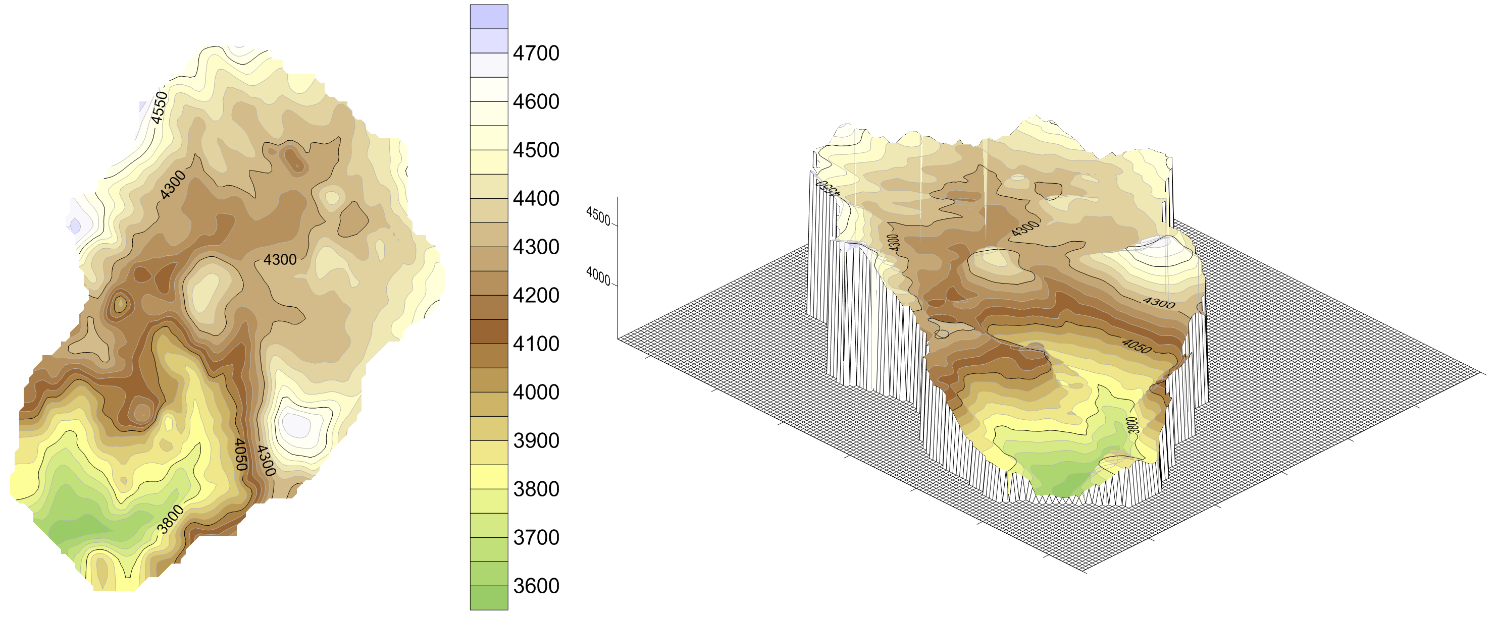 Surfer contour mapping software: surface elevation map