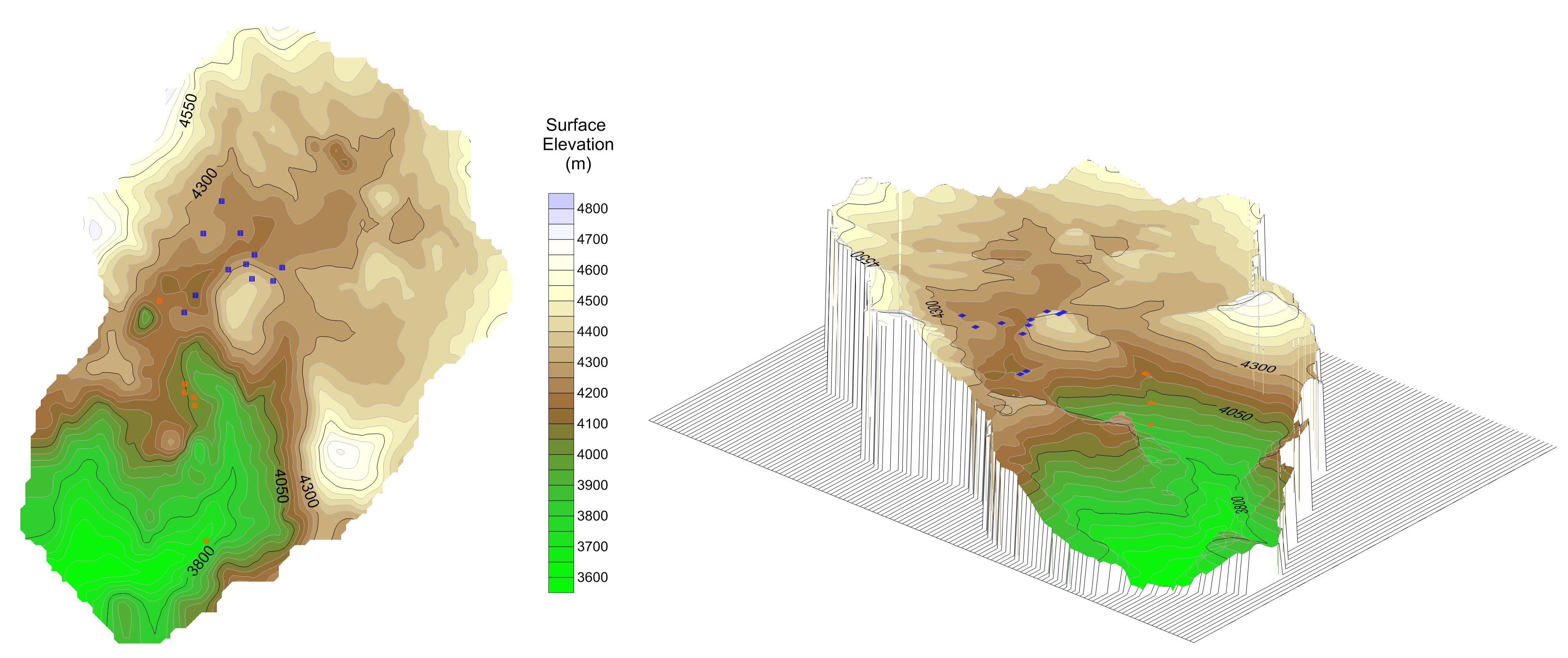 Surfer modeling and contour mapping software: Surface map of mine site displaying spring locations