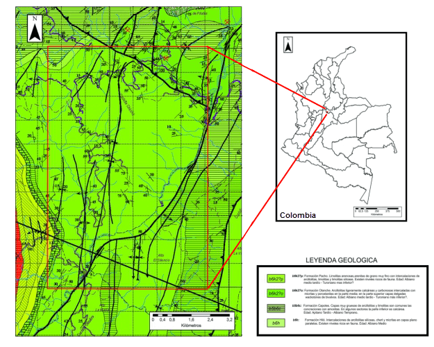 Overview of the search area for Colombian emerald deposits