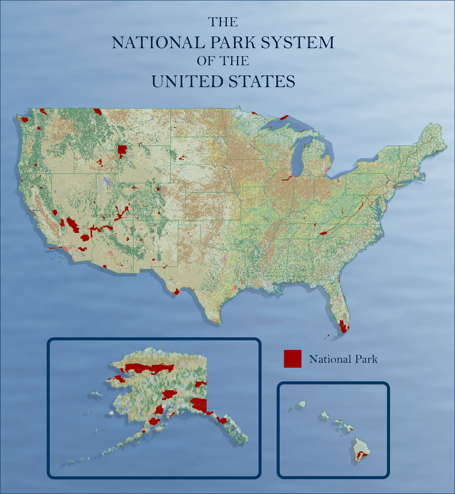 Surfer mapping software: Map of the US National Park boundaries