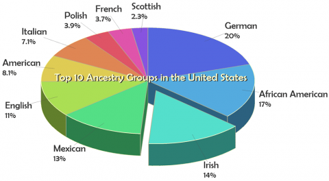 Pie chart of the top 10 ancestry groups in the United States - created with Grapher