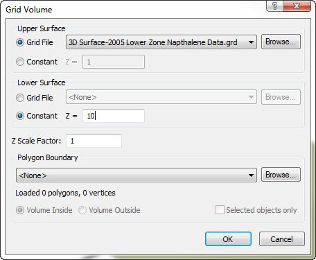 Surfer 14 Grid Volume dialog.