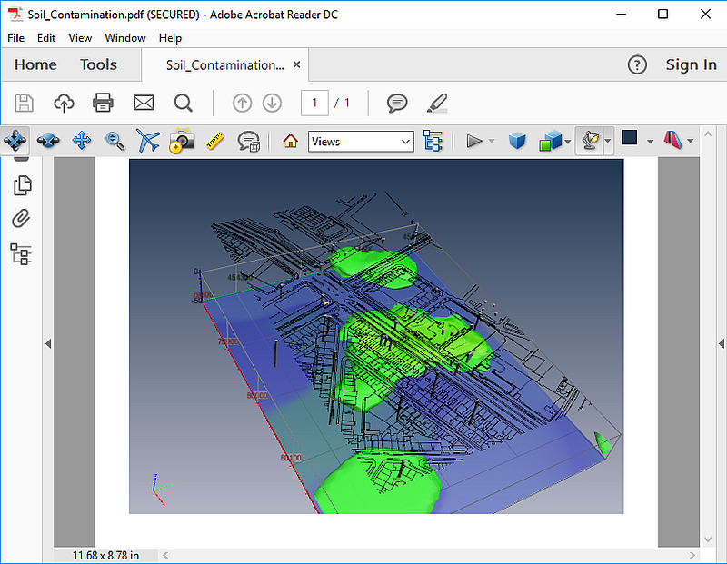 3D PDF created in PDF3D's ReportGen from an IV file that was exported from Voxler.