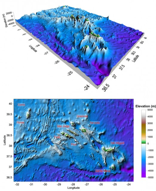 Surfer 2D and 3D mapping, modeling, and analysis software: The Azores region has a variety of data sources including multibeam bathymetry displayed in Surfer