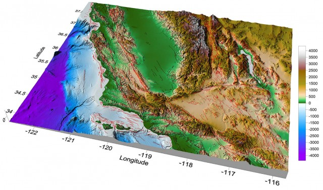 Surfer 2D and 3D mapping, modeling, and analysis software: 3D surface map of the Californian fault system