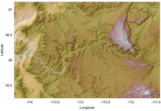 Surfer 2D and 3D mapping, modeling, and analysis software: Regional view of the Grand Canyon using a shaded relief map in Surfer