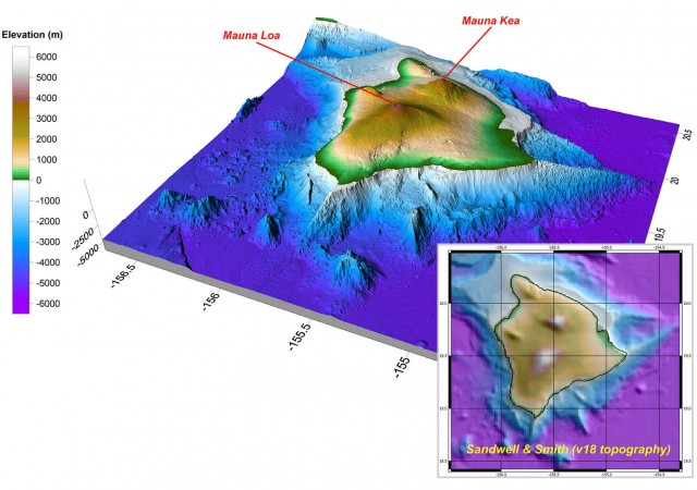 Surfer 2D and 3D mapping, modeling, and analysis software: Island of Hawaii GMRT data displayed as a Surfer 3D surface.
