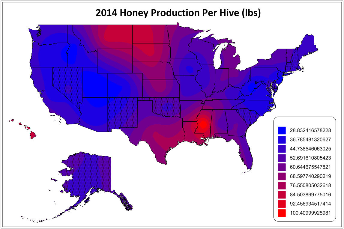 2014 Honey Production per Hive