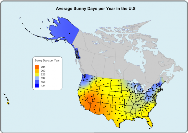 The Sunniest Areas In The US Identified With MapViewer - Us map number of days of sunshine