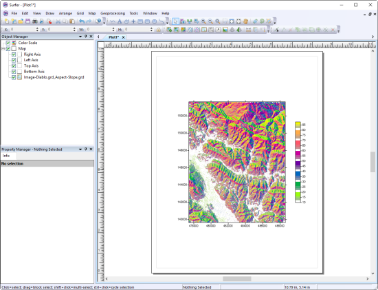 Surfer 2D & 3D Mapping Software: Aspect slope map creation