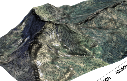 Slope contours draped on 3D map