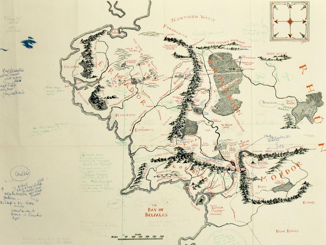 Annotated copy of J.R.R. Tolkien's map of Middle Earth