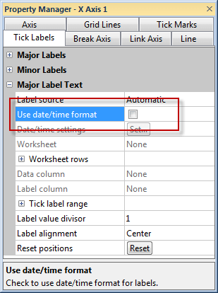 Check the Use date/time format option to show dates on the axis.
