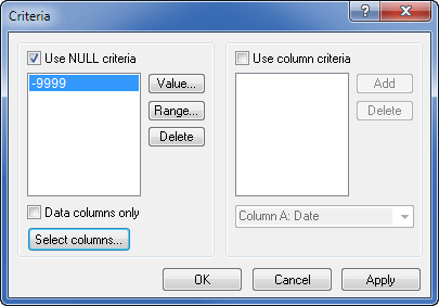 Grapher's Criteria dialog allows individual data values or ranges of values to be excluded.
