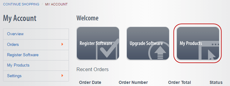 Click the My Products button to download your software.
