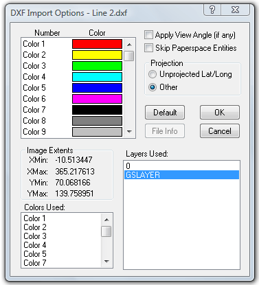DXF Import Options dialog with File Info showing