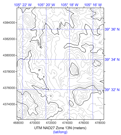 Surfer map displaying lat/long graticules for a map in UTM.
