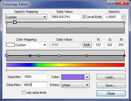 Voxler Colormap Editor