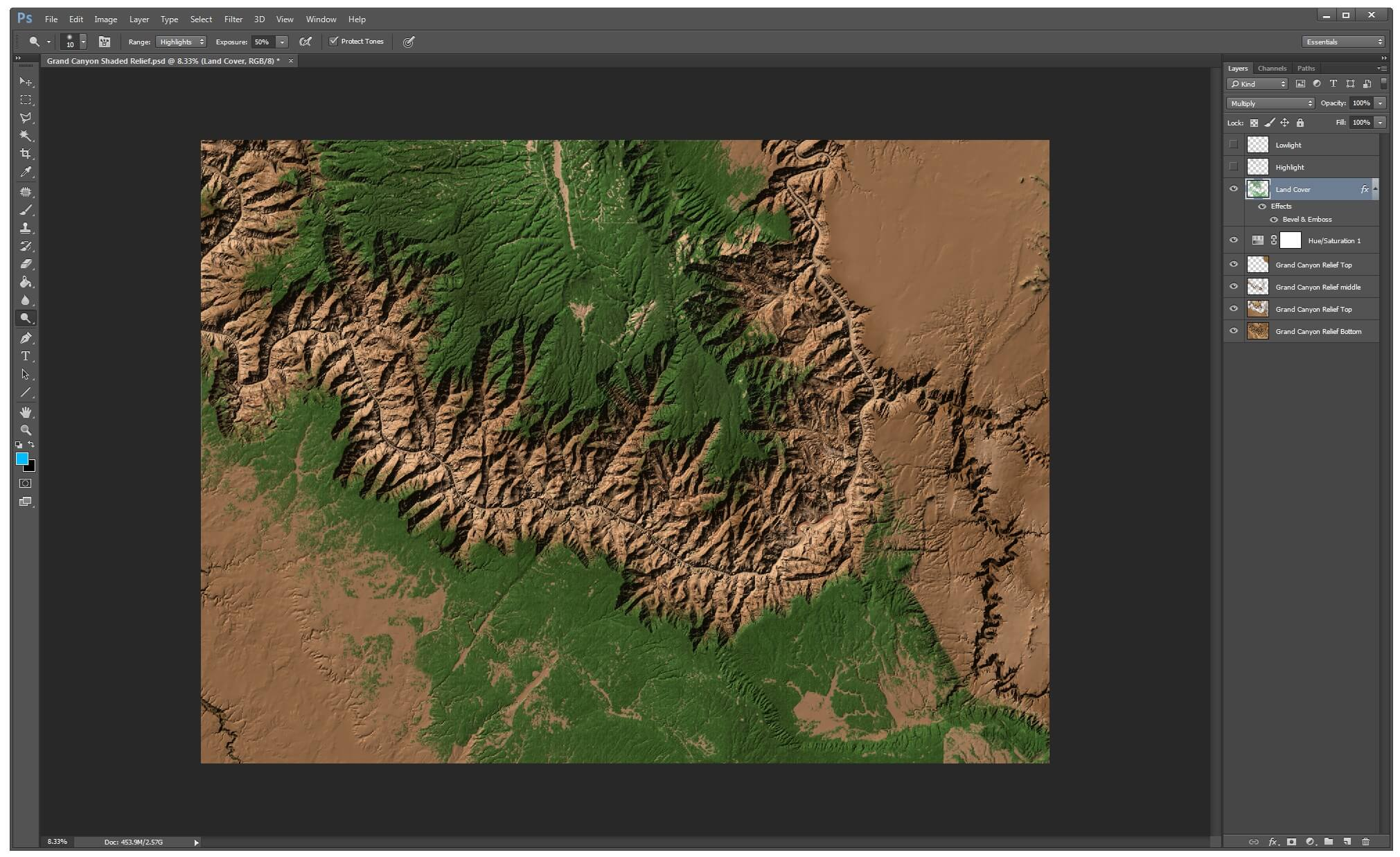 Surfer mapping software - Shaded relief layers in Photoshop with land cover