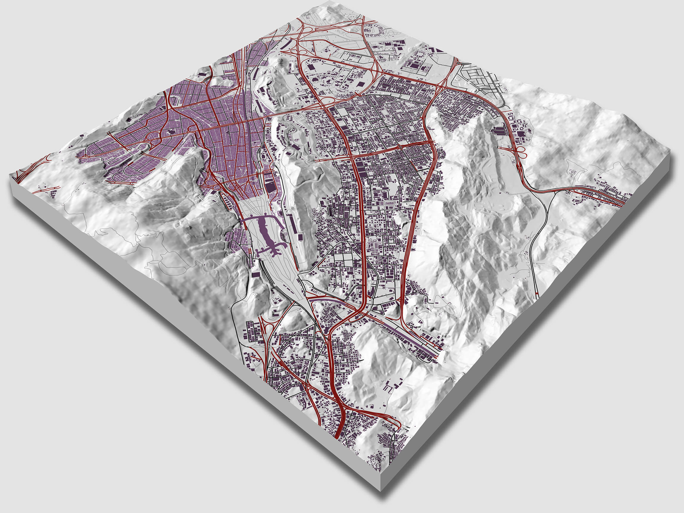Surfer mapping software - 3D surface map and shaded relief map with overlaid vector data