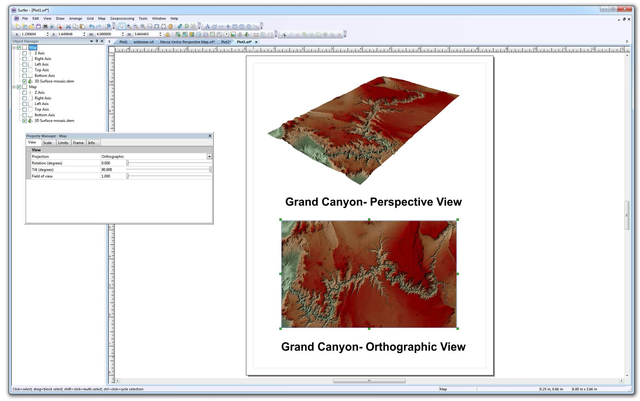Surfer mapping software - Grand Canyon perspecitve view and orthographic view