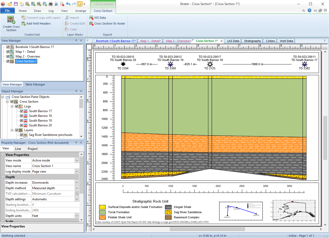 Strater - well log, borehole, cross section plotting software