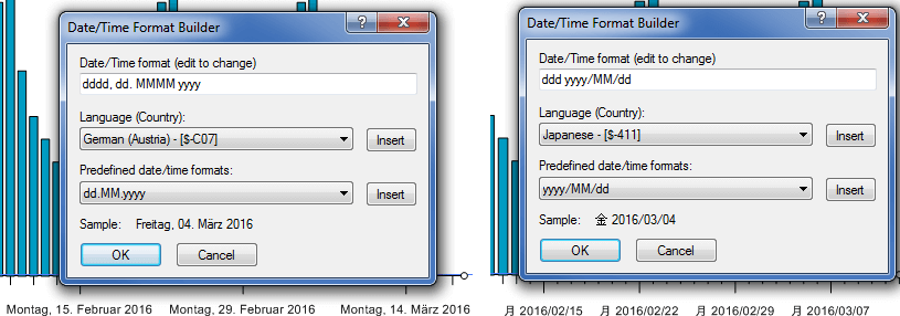 date/time labels appear automatically in your Windows locale format