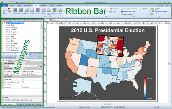 Quickly Create And Customize Your Map With The Intuitive New Ribbon Bar Interface And The Redesigned Managers
