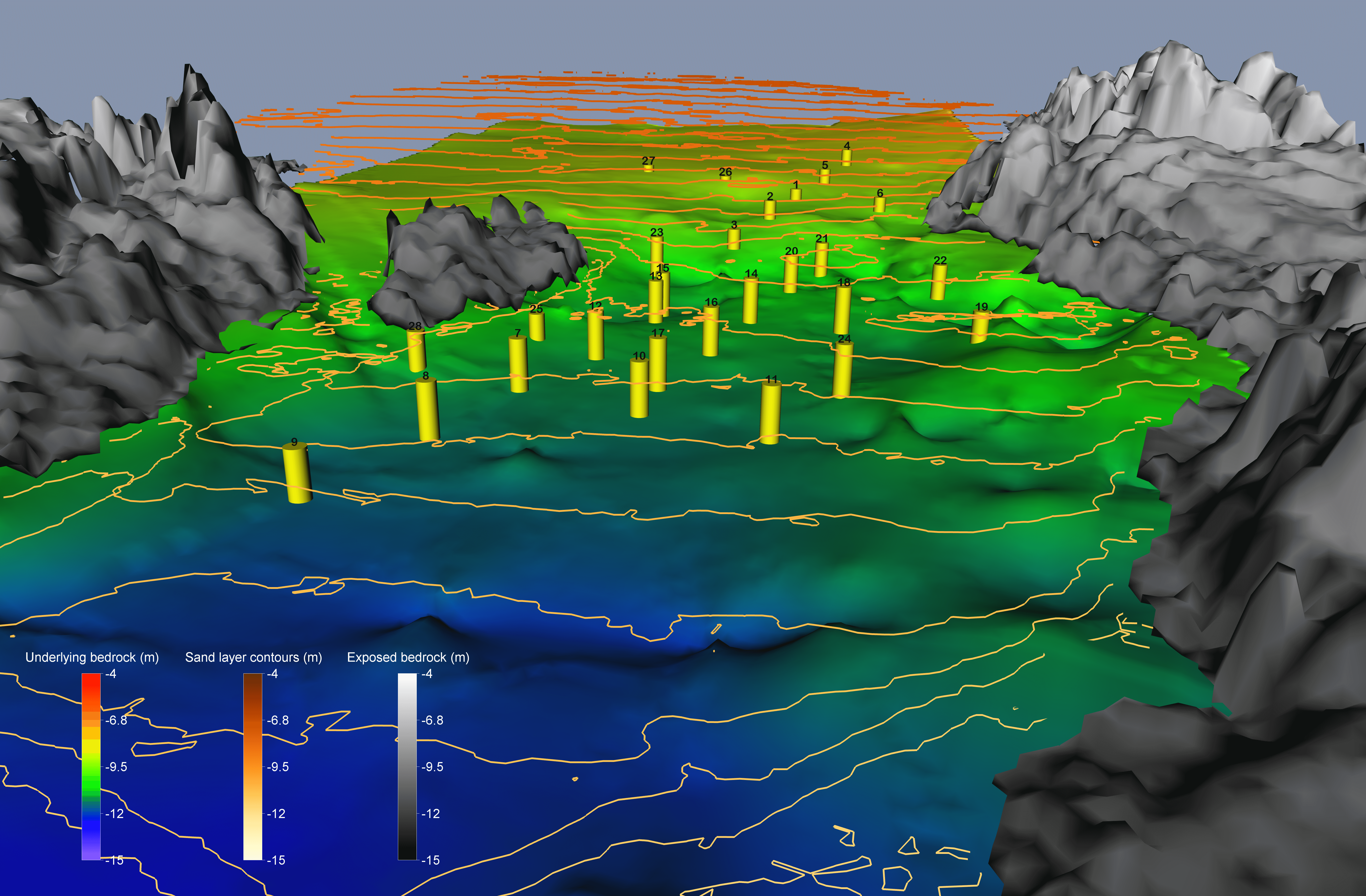Ettrick River site bedrock and contours of exposed rock sediment created with Golden Software