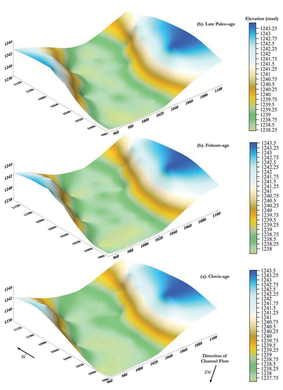 Models of the Blackwater Draw - mapped in Surfer 2D & 3D graphing, plotting, and analysis software