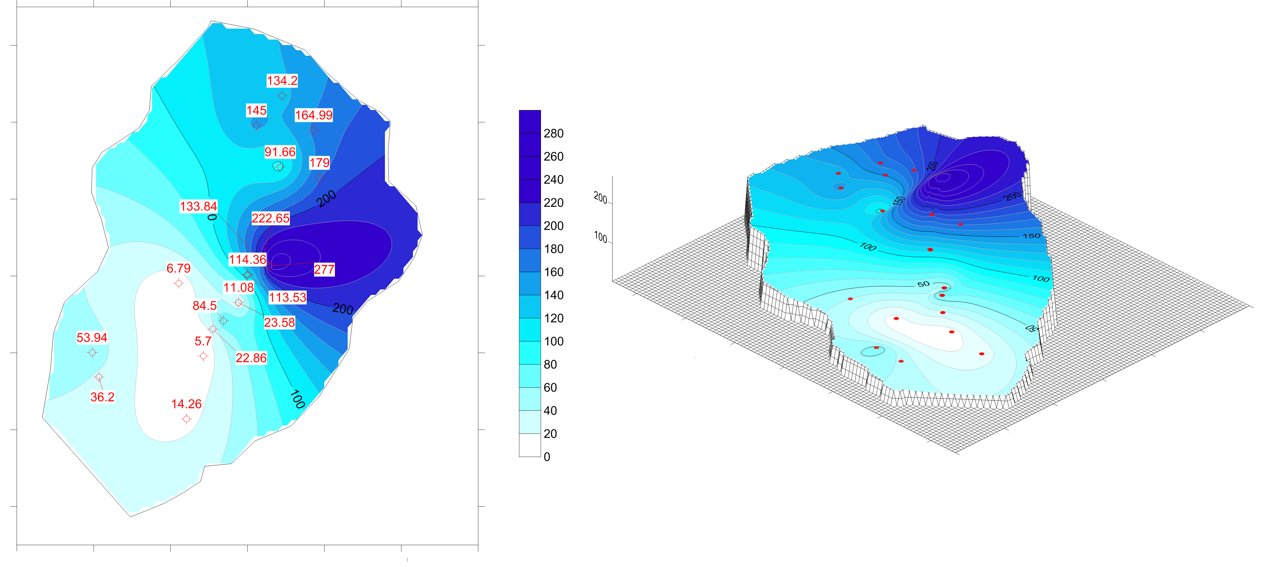 Surfer modeling and contour mapping software: Groundwater depth map