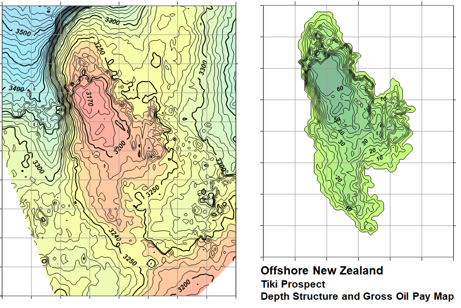 A variety of information such as depth structure and gross oil pay maps are displayed with Surfer's contour map option.