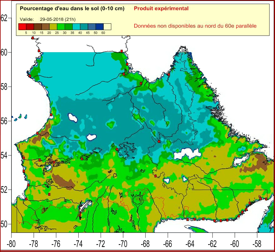 Weather mapping - estimated soil water content - mapped in Surfer 2D & 3D mapping, modeling, and analysis software for scientists and engineers