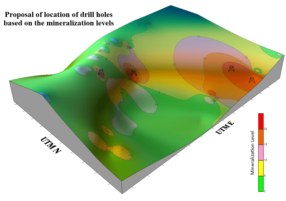 Mineral exploration with geochemical visualization to locate drill holes - mapped in Surfer 2D & 3D mapping, modeling, and analysis software for scientists and engineers