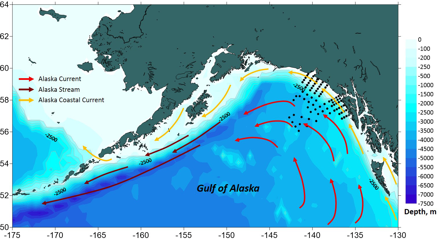 Water depth map illustrating the Gulf of Alaska currents and the sampling locations Alexei and his team monitored in the summer of 2016-2017.