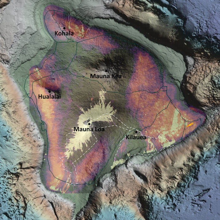 Surfer color relief maps showing topography and thermal activity on the island of Hawaii.