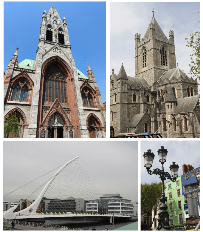 Historical and modern attractions in Dublin, Ireland.