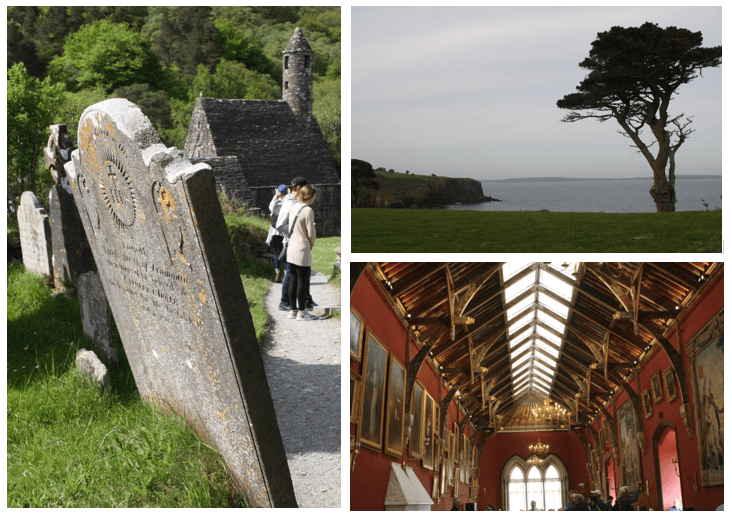 Day 1 in Paddywagon 9-day tour of Ireland: Glendalough Monastic City, Kilkenny, and Dunmore East.