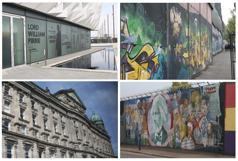 Day 9 in Paddywagon 9-day tour of Ireland: Belfast (Titanic Belfast Museum and black cab tour past various graffiti- and mural-covered Peace Lines).