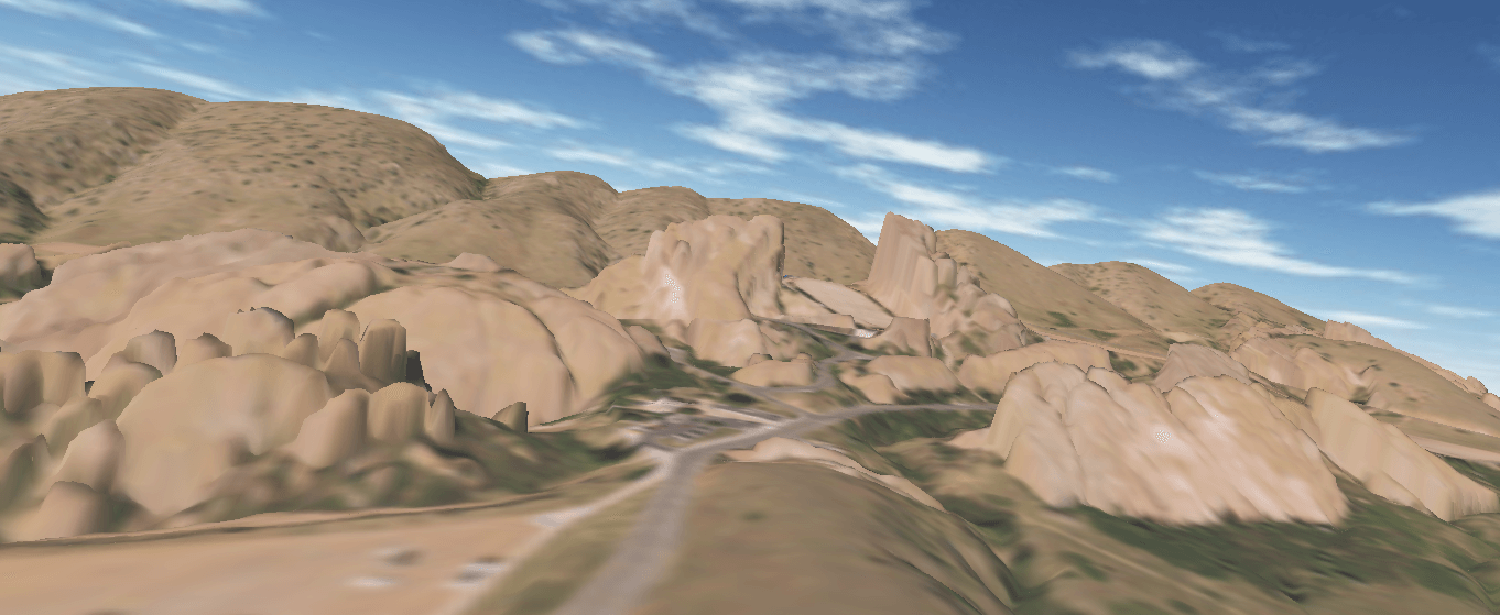 A 3D model view of Red Rocks from the lower south parking lot.