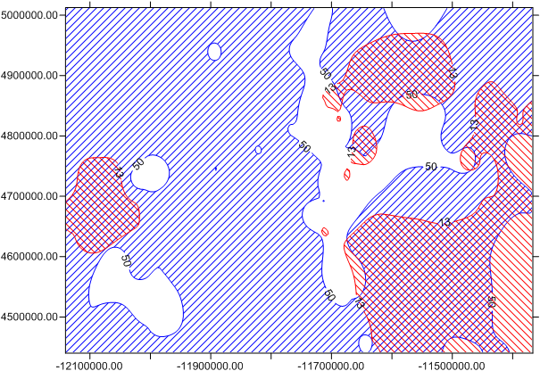 How to show areas of overlap of two contour maps in Surfer 13