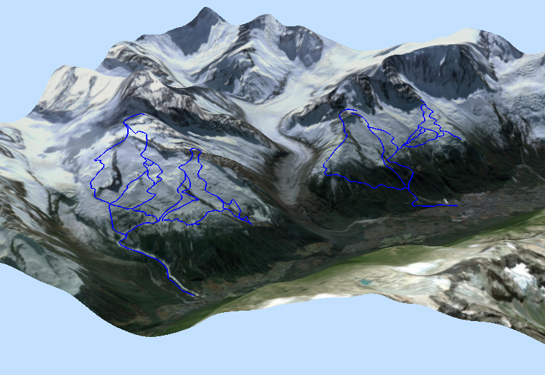 Voxler: interactive 3D ski map using image and vector overlays
