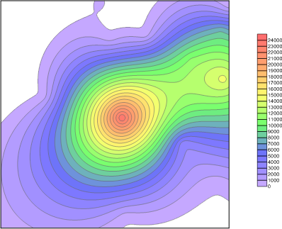 Contour map with color scale displayed.