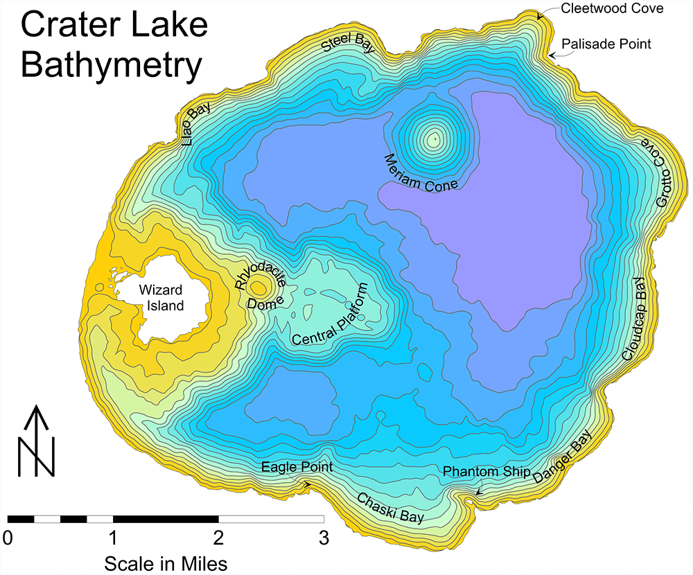 MapViewer-Thematic mapping and spatial analysis software: Crater lake bathymetry map