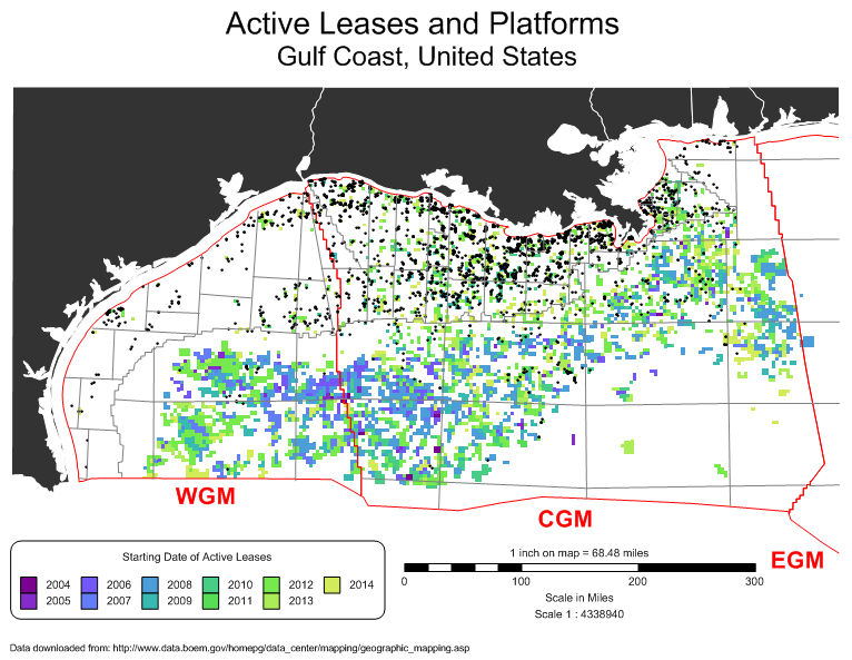 MapViewer-Thematic mapping and spatial analysis software: Pin map showing the active oil and gas leases and platforms