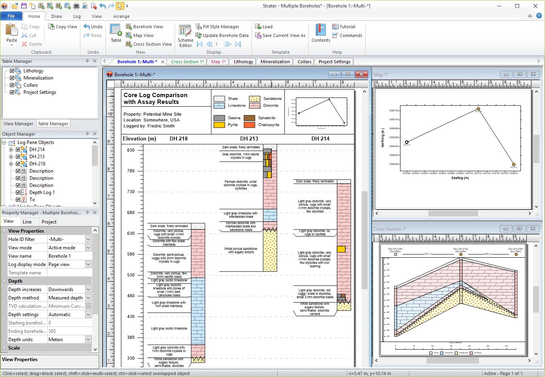 Software de mapeo, modelado y análisis geotécnico y geoambiental de Strater: trabaje fácilmente con todo su subsuelo en Strater