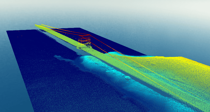 Surfer 2D & 3D mapping, modeling & analysis software: LiDAR point cloud of the Golden Gate Bridge, San Francisco, CA