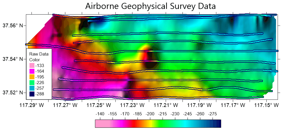 Surfer 2D & 3D mapping, modeling, and analysis software: Interpolating airborne geophysical survey data is straightforward with Surfer